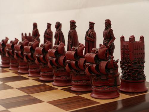 Berkeley Chess Elizabethan (Red) Chessmen pieces (BC3010)