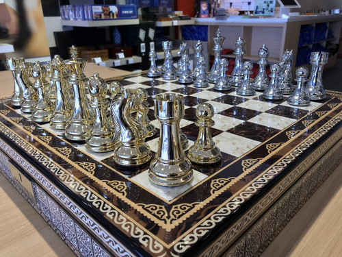 Dal Rossi 50cm Mosaic Finish Chess Board & 105mm Gold/Silver Colour Chess Pieces (L2268 & L32221) side on