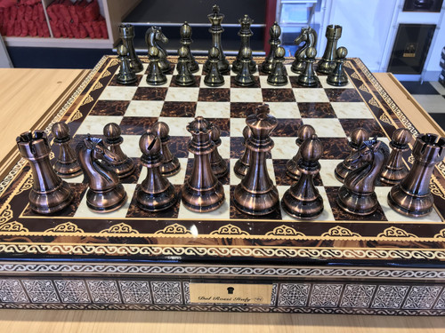 Dal Rossi Italy Chess Box Mosaic Finish Chess Board & 105mm Bronze/Copper Colour Chess Pieces (L2268 & L3223) full set