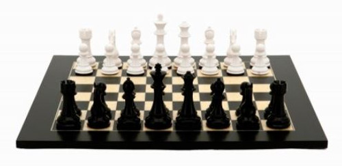 Dal Rossi Chess Set, 50cm Black/Erable  Board & 105mm White/Black Pieces. full photo