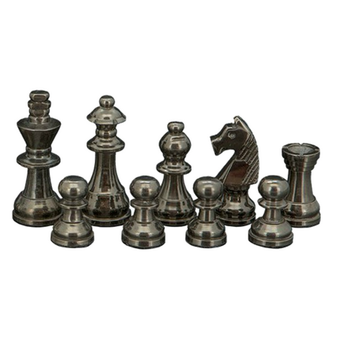 Dal Rossi Staunton Black Nickel & Silver 80mm Chessmen ONLY (L354822DR) dark