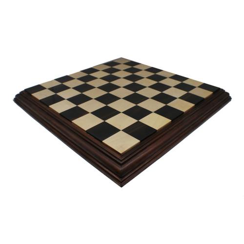 Rex Noir Prestige 55cm Step Moulded Ebony Chess Board (PRE-E-STEP-55) angle