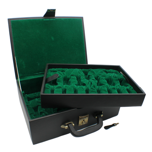 Rex Noir Chess Storage Box Black Organic Leather for 90mm pieces (BOX-L-12)