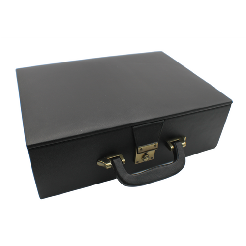 Rex Noir Chess Storage Box Black Organic Leather for 90mm pieces (BOX-L-12) closed