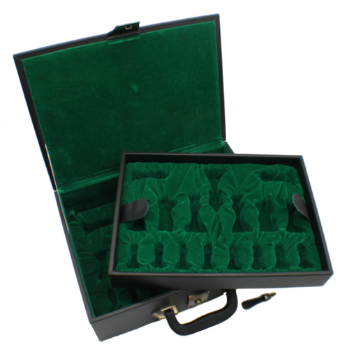Rex Noir Chess Storage Box Black Organic Leather for 100mm pieces (BOX-L-13) entire box