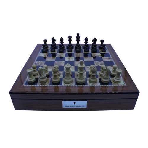 Dal Rossi 40cm Board with Rex Noir 75mm Rosewood Pieces Chess Set (L2250andEXPR75)