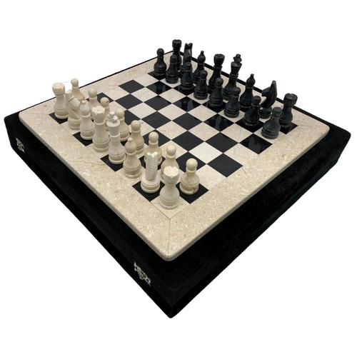 "16"" Onyx Marble Chess Set with Velvet Case Cream / Black (152CW)"