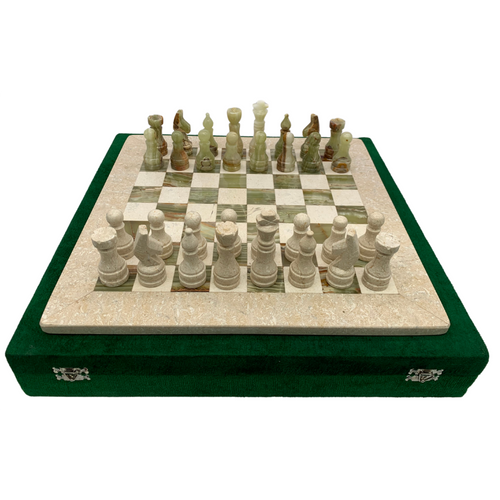 "16"" Onyx Marble Chess Set with Velvet Case Cream / Green (158CW)"
