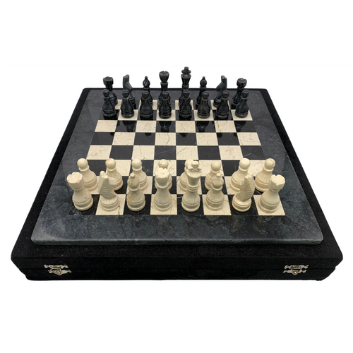 "16"" Onyx Marble Chess Set with Velvet Case Black / Cream (162CW) game"