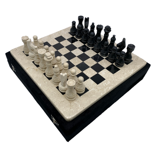 "2"" Onyx Marble Chess Set with Velvet Case Cream / Black (102CW)"