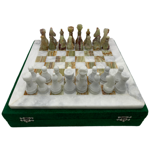 "12"" Onyx Marble Chess Set with Velvet Case White / Green (106CW)"