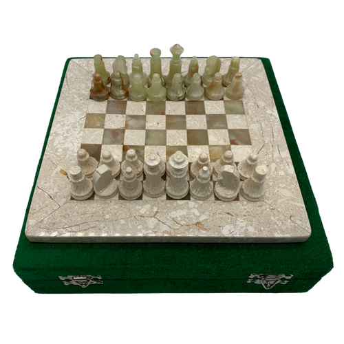 "8"" Onyx Marble Chess Set with Velvet Case Cream / Green (148CW)"