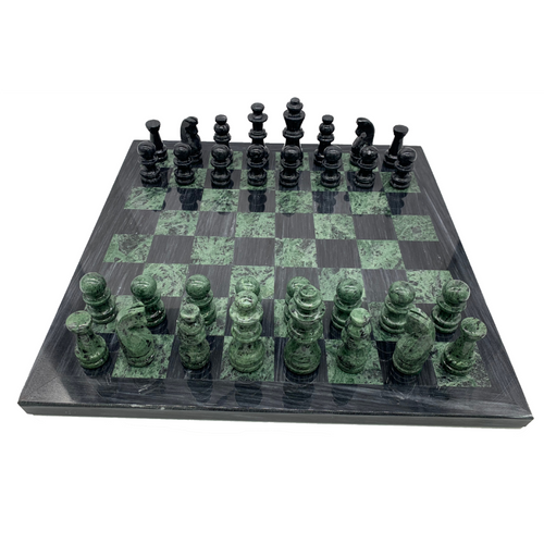 "16"" Onyx Marble Glass Chess Set Green / Black (M1041)"