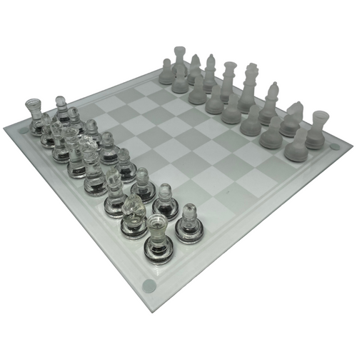 Glass Chess Set 35cm with Clear and Frosted pieces (GS03)