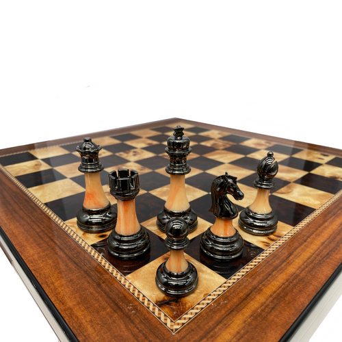 90mm Metal and Marble look Stem Chess Pieces (DCP15H) dark