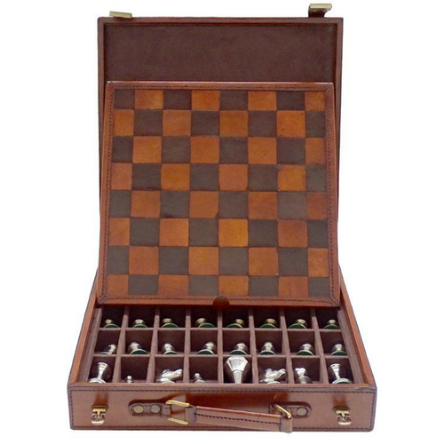 Norwood Luxury Leather Chess Set with Nickel Pieces (NORLEATHER1) open