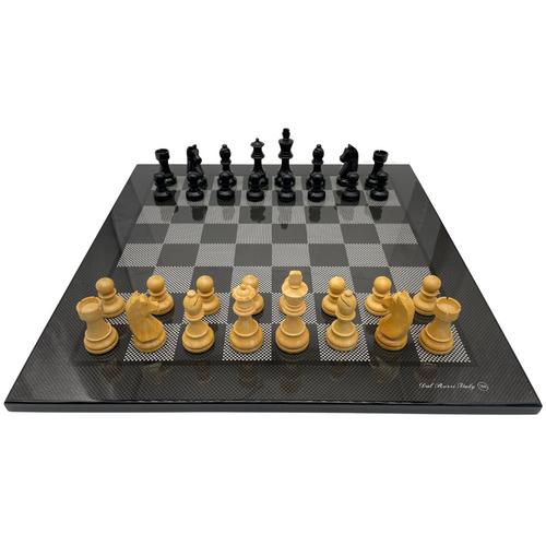 50cm Carbon Fibre Chess Board with 95mm Ebony pieces (L7906andGENE95)