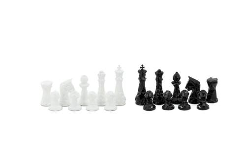 Dal Rossi Diamond Cut Black & White Chessmen Pieces 85mm (L3229DR)