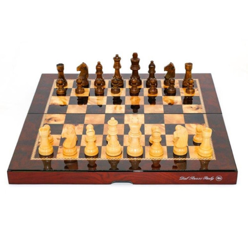 Dal Rossi Mahogany Gloss Finish 38cm Folding Chess Set (L2049DR)