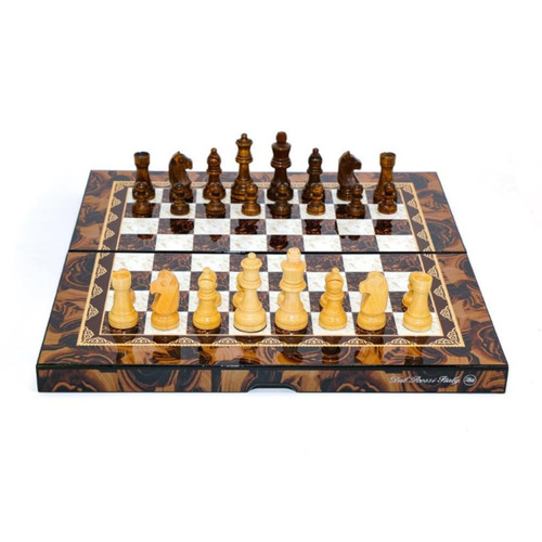 Dal Rossi Mosaic Gloss Finish 38cm Folding Chess Set (L2048DR)