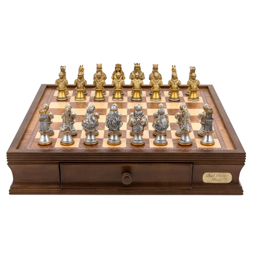 Dal Rossi Warriors Resin Chess Pieces on 40cm Storage Board