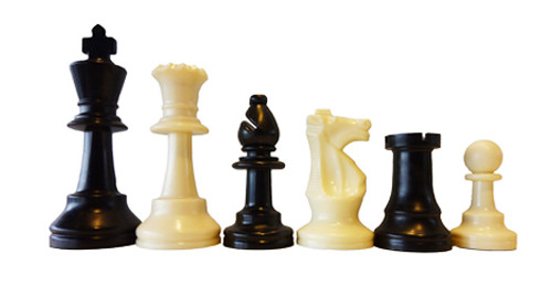 95mm Tournament Plastic Chess Pieces Single Weighted (PP953)