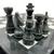"12"" Onyx Marble Chess Set with Velvet Case Black / White (109CW) black closeup"