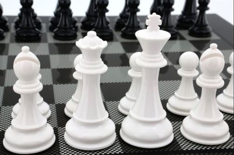 Dal Rossi 105mm White/Black Colour Chess Pieces ONLY (L3222DR) - Shown closeup on Carbon Fibre Board (not included)