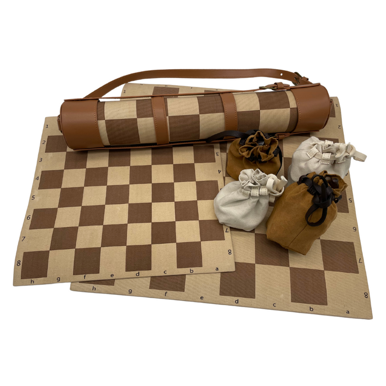 Leather Rollup Chess Board with Chess and Checkers Pieces