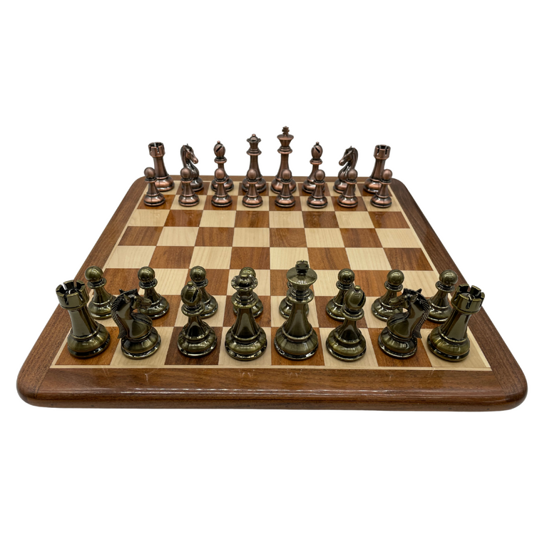 Rex Noir 50cm Acacia Chess Board with 110mm Brass / Copper look pieces