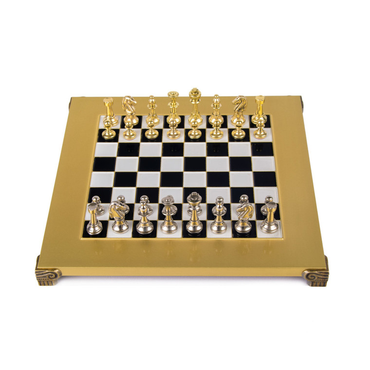 Manopoulos CLASSIC METAL STAUNTON CHESS SET with gold/silver chessmen and bronze chessboard 28cm (S32BLA)