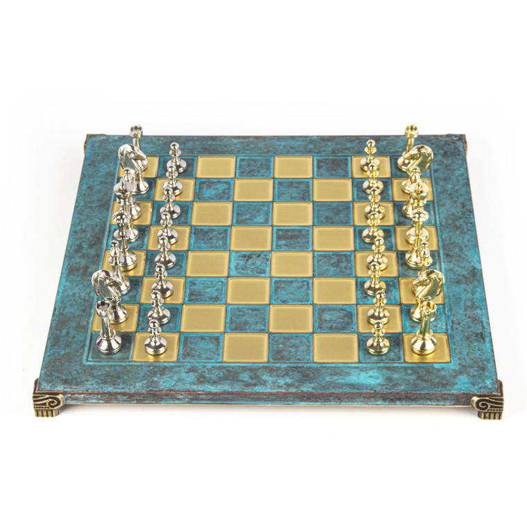 Manopoulos CLASSIC METAL STAUNTON CHESS SET with gold/silver chessmen and bronze chessboard 36cm (S34TIR)