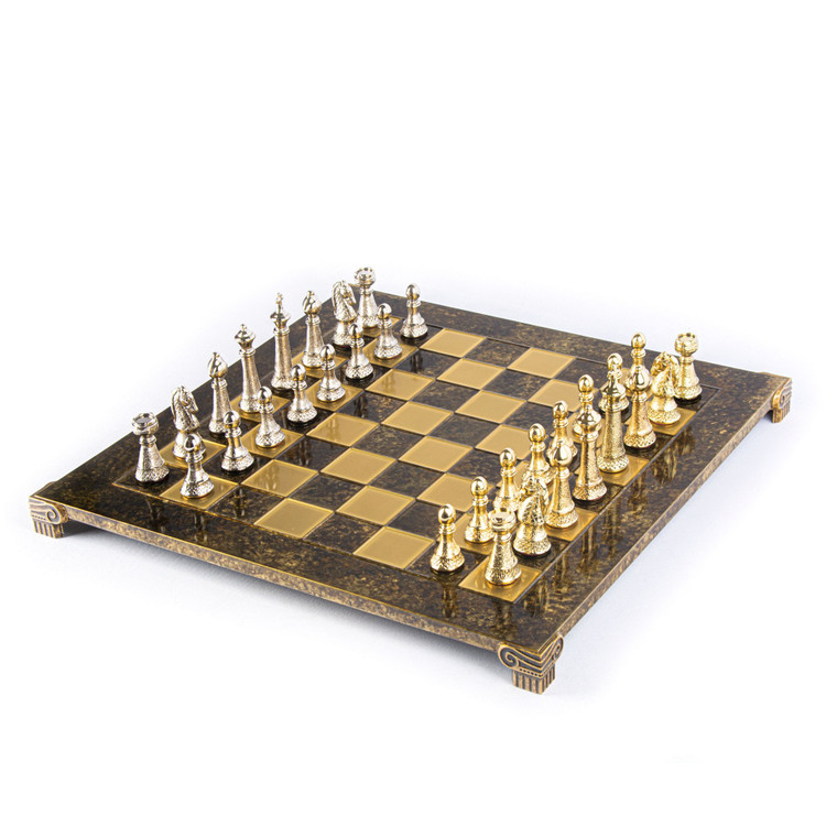 Manopoulos CLASSIC METAL STAUNTON CHESS SET with gold/silver chessmen and bronze chessboard 44cm (S33BRO)