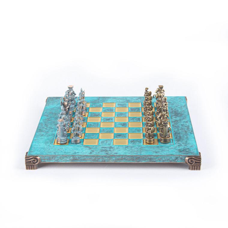 Manopoulos GREEK ROMAN PERIOD CHESS SET with blue/brown chessmen and bronze chessboard 28cm (S3BTIR)