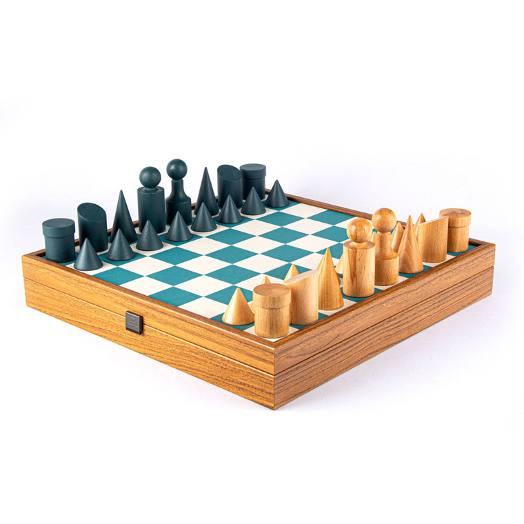 BAUHAUS STYLE Turquoise Chess set 40cm board with 85mm pieces (SD50TIR)