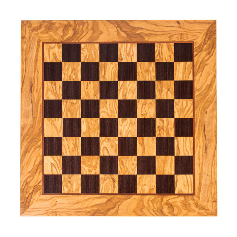 Manopoulos 50cm Olive Wood and Wenge inlaid handcrafted chessboard