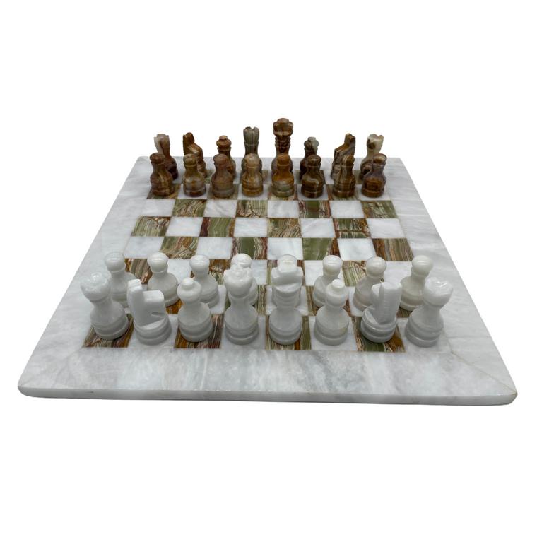 "16"" Marble Chess Set with Velvet Case White / Coral (WHITECORAL)"