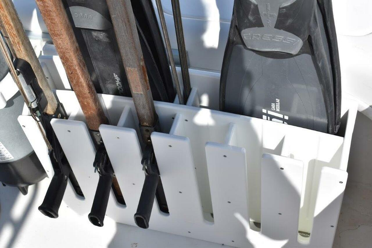 Mangrove Marine Speargun Rack with Fin Holder - 6 slot .  Spearguns and fins for display only and not included.