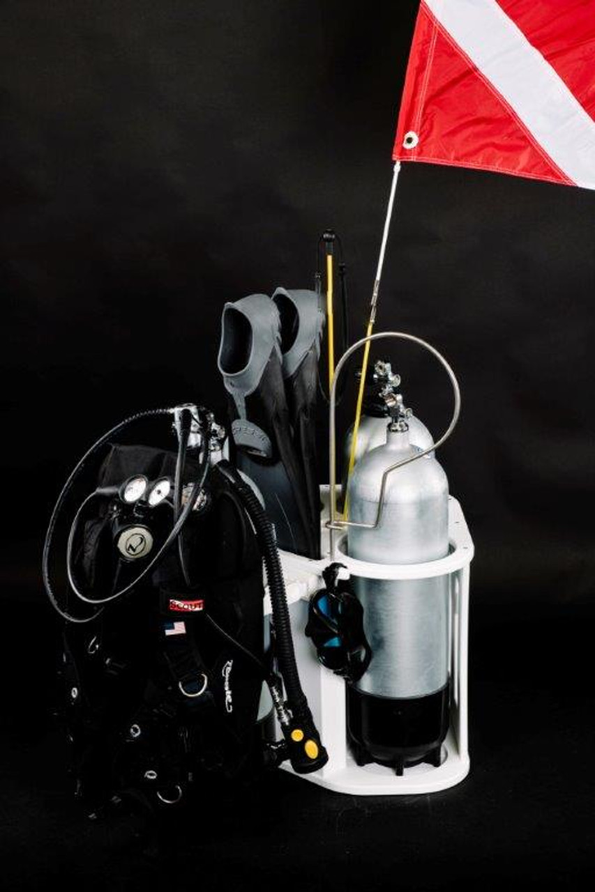 Our 3 Tank Corner Rack can keep all your diving gear secure and organized just like you see in this photo.   Tanks and fins and other gear not included.   For visual reference only.