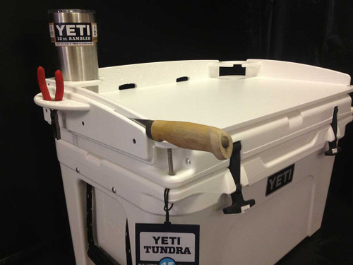 "INTRODUCING MANGROVE MARINE'S PREMIUM QUALITY TURNKEY ""FIT AND GO"" DELUXE COOLER TOP BAIT STATION FOR ANY SIZE OF YETI TUNDRA SERIES COOLERS.  AVAILABLE IN THESE QUART SIZES (35,45,50,65,75,105,110,125,160,250,420) YOUR MARINE GRADE CUTTING BOARD FEATURES SUPER EASY ""FIT AND GO"" INSTALLATION.  NO HOLES TO DRILL!"