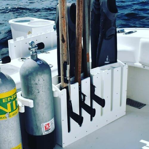 Mangrove Marine Speargun Rack with Fin Holder - 6 slot.   Spearguns and fins for display only and not included.