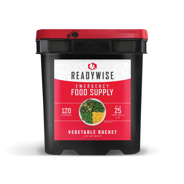 Our 120 Serving Freeze Dried Vegetable Bucket is a perfect addition to any food supply. Whether you're affected by a snow storm, hurricane or other weather emergency, it's wise to be prepared. These great-tasting freeze-dried and dehydrated foods are ready in minutes when you just add water.