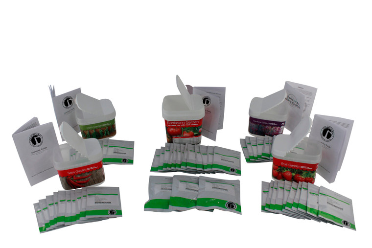 This combined seed pack includes all the great non-hybrid long-term preparedness seeds into one discounted package. Includes our Culinary Herb Garden, Fruit Garden, Salsa Garden, Medicinal Garden, and our super-sized Everlasting Garden pack
