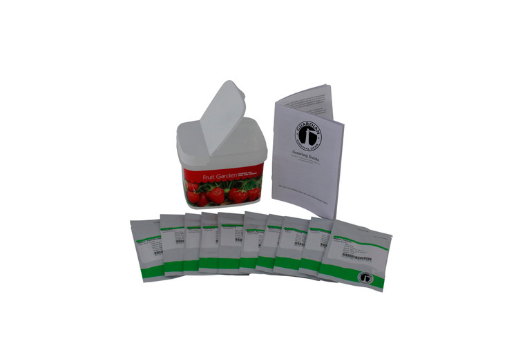 The Fruit Garden Preparedness Seeds provides a vital component for your food storage plan. Each bucket contains 9 fruit garden varieties designed to help you stay comfortable in hard times. While it is important to store the basics in preparation for true want, wheat and freeze-dried foods can get old quickly, especially for children.