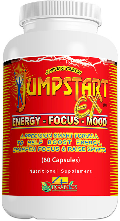 JUMPSTART EX (Bottle 60)-JUMPSTART EX is a natural, premium quality nootropic CNS energy stimulant supplement scientifically-designed to support peak physical / mental performance and a positive disposition to help you be at your best. This remarkable boost supplement has ingredients to increase metabolism, help cells burn energy more efficiently, sharpen focus, and maintain discipline.