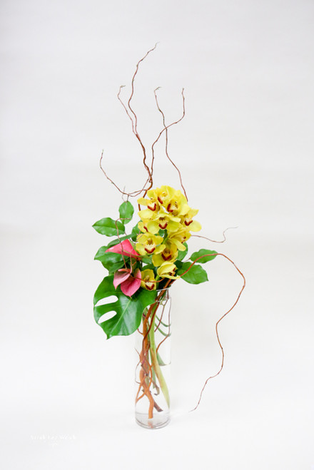 Yellow cymbidium orchids with anthurium flowers in a vase with unique greens, this arrangement is sure to take you back to somewhere tropical!