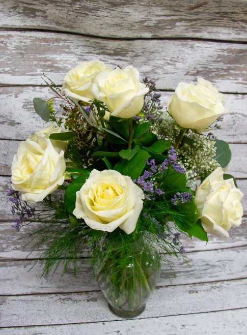 1/2 Dozen Rose Arrangement -Choose Color-