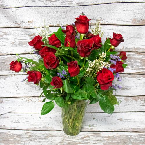 2 Dozen Roses Vase Arrangement