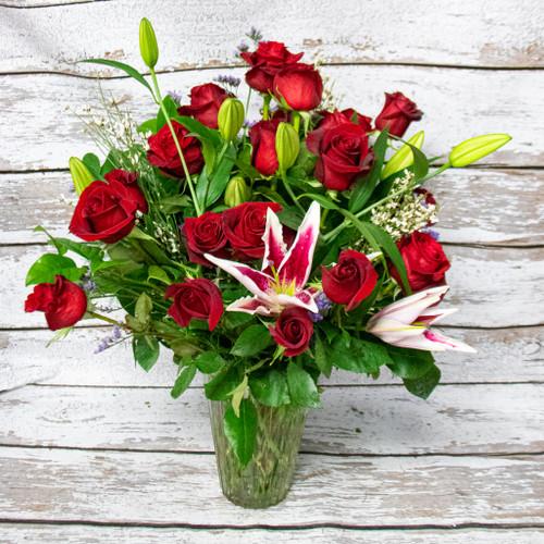 1 Dozen Roses and Stargazer Lilies Vase Arrangement
