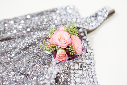 Pink Rose Corsage with Succulent Accent